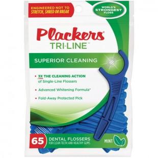 Plackers Tri-Line зубная нить с зубочисткой