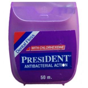 President Dental Floss Antibacterial 50 м. антибактериальная