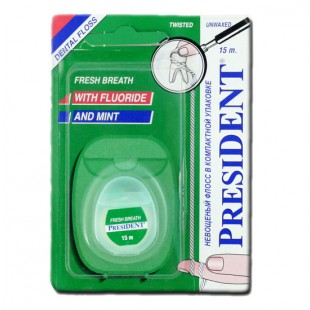 President Dental Floss Fresh Breath Unwaxed 15 м. свежее дыхание
