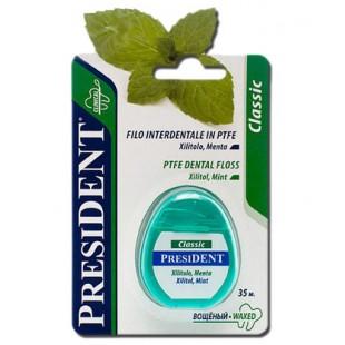 President Classic фитофлосс зубная нить из PTFE с мятой 35 м.