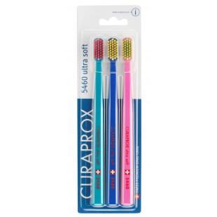 Curaprox CS 5460/3 Ultrasoft (0,10 мм) набор щеток 3 шт. изумрудный-красный, синий-желтый, розовый-салатовый
