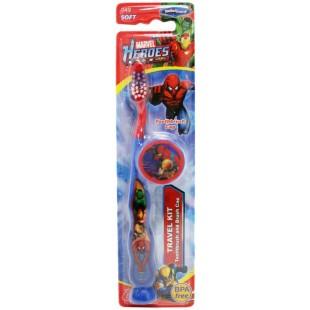 SmileGuard Marvel Heroes детская зубная щётка для детей от 3-х лет на присоске с колпачком.