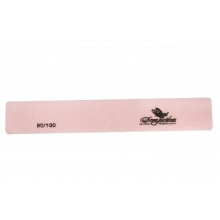 Dona Jerdona пилка для искусственных ногтей 80/100 прямоугольная широкая розовая 100398