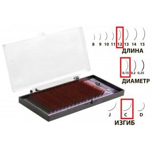 Dona Jerdona Цветные одинарные ресницы в кассете Черные+Красные C/0,15/12 (16рядов)